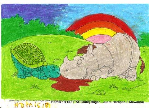 """Karya Hamis Kelas 1B SDIT At-Taufiq Bogor, Juara Harapan 2 Mewarnai """"Rhino Goes to School"""" 19 April 2009."""